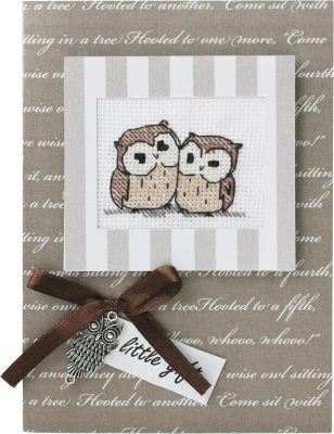 click here to view larger image of 2 Owls Card (counted cross stitch kit)