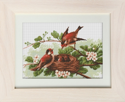 click here to view larger image of Bird Family (counted cross stitch kit)