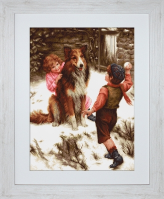 click here to view larger image of Snowball Fight (counted cross stitch kit)
