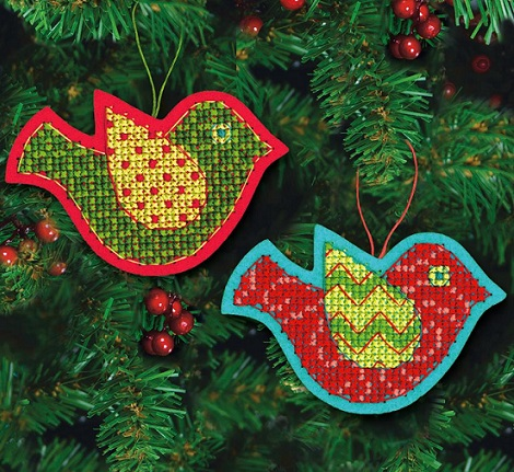 click here to view larger image of Jolly Bird Ornaments (counted cross stitch kit)