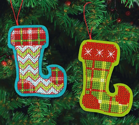 click here to view larger image of Jolly Stocking Ornaments (counted cross stitch kit)