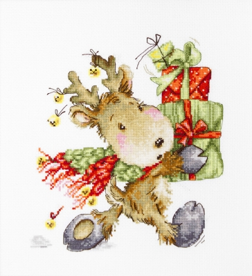 click here to view larger image of Fawn (Reindeer With Presents) (counted cross stitch kit)