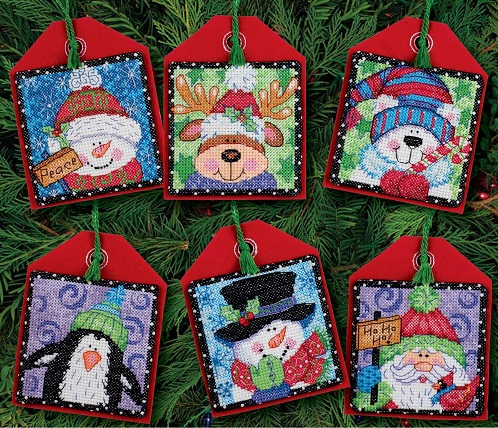 click here to view larger image of Christmas Pals Ornaments (counted cross stitch kit)