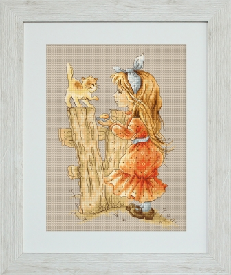 click here to view larger image of With A Kitten (counted cross stitch kit)