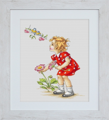 click here to view larger image of Girl In Red Dress (counted cross stitch kit)