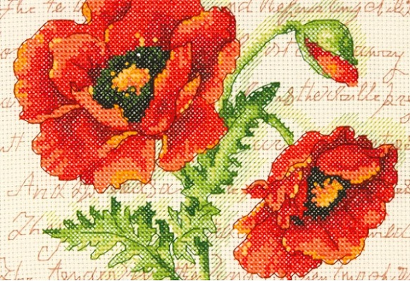 click here to view larger image of Poppy Pair (counted cross stitch kit)
