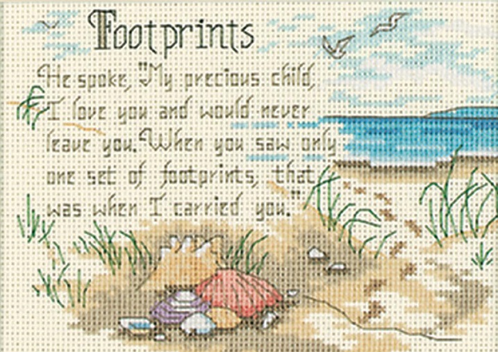 click here to view larger image of He Spoke (Footprints) (counted cross stitch kit)