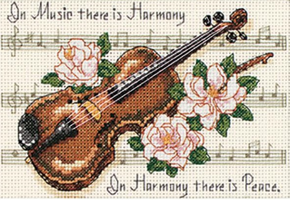 click here to view larger image of Music is Harmony (counted cross stitch kit)