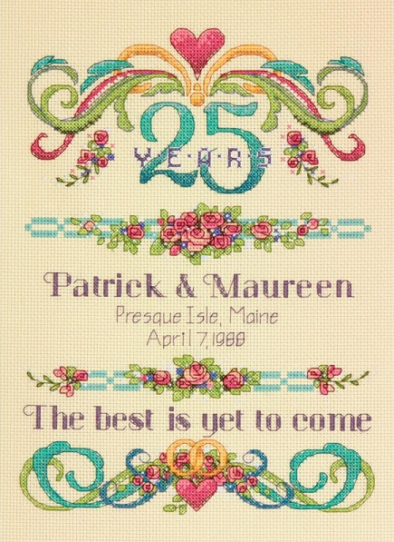 click here to view larger image of Vintage Anniversary Record (counted cross stitch kit)