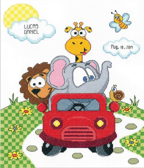 click here to view larger image of Animal Fun Ride Birth Announcement (counted cross stitch kit)