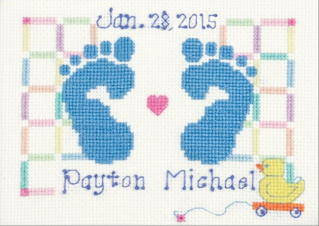 click here to view larger image of Baby Feet Birth Announcement (counted cross stitch kit)