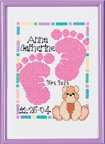 click here to view larger image of Special Moments Baby Footprints Birth Announcement (counted cross stitch kit)