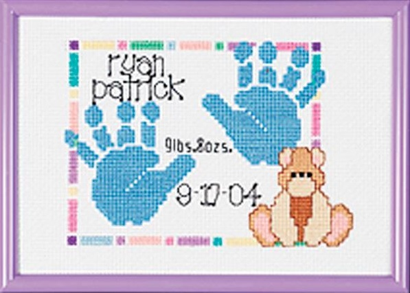 click here to view larger image of Special Moments Baby Handprints Birth Announcement (counted cross stitch kit)