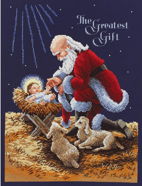 click here to view larger image of Kneeling Santa (counted cross stitch kit)