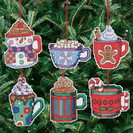 click here to view larger image of Cocoa Mug Ornaments - Set of 6 (counted cross stitch kit)