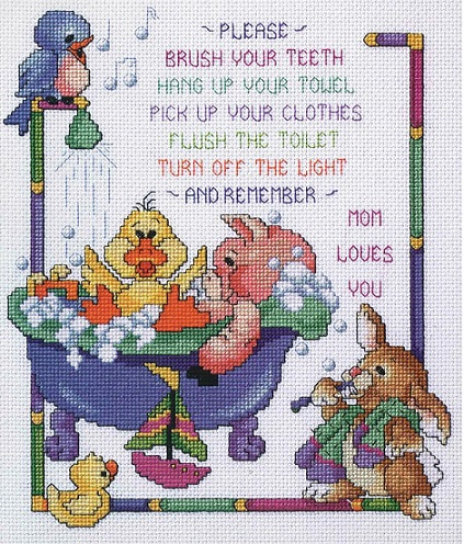 click here to view larger image of Bath Time Rules (counted cross stitch kit)