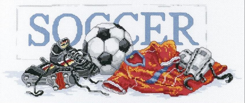 click here to view larger image of Soccer (counted cross stitch kit)