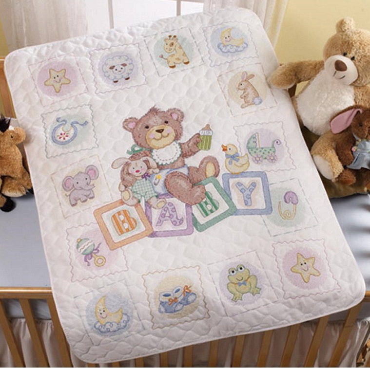 click here to view larger image of Baby Blocks Crib Cover (stamped crib cover)