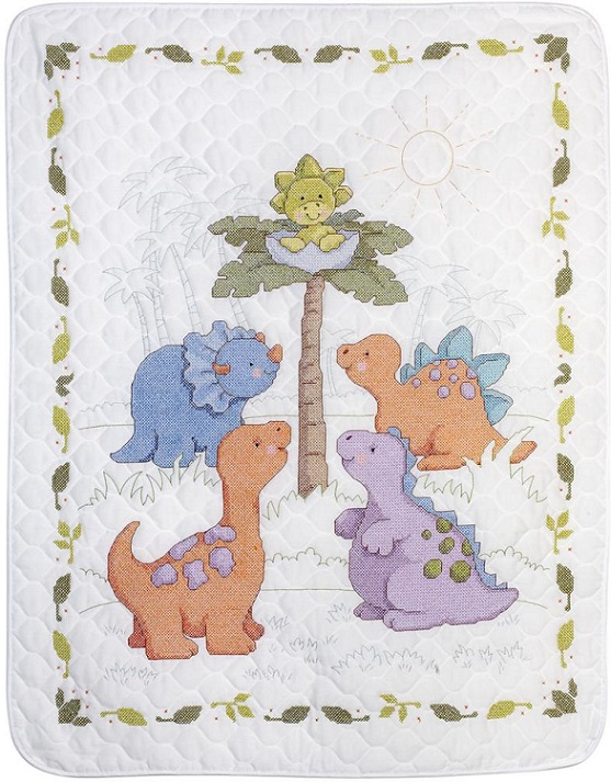 click here to view larger image of Cuteasaurus Crib Cover (stamped crib cover)