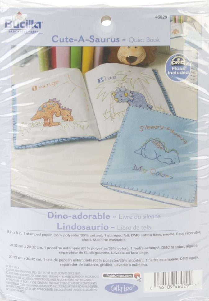 click here to view larger image of Cuteasaurus Quiet Book (stamped cross stitch)