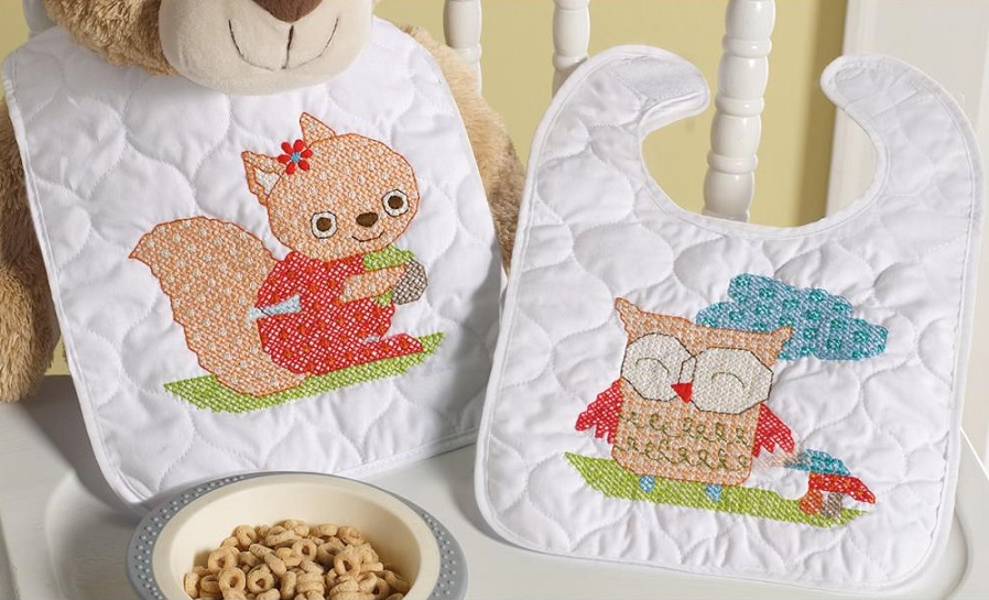 click here to view larger image of Woodland Baby Bibs - Set of 2 (stamped bib)