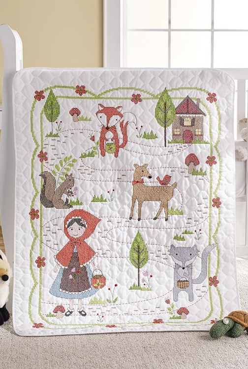 click here to view larger image of Little Red Riding Hood Crib Cover (stamped crib cover)