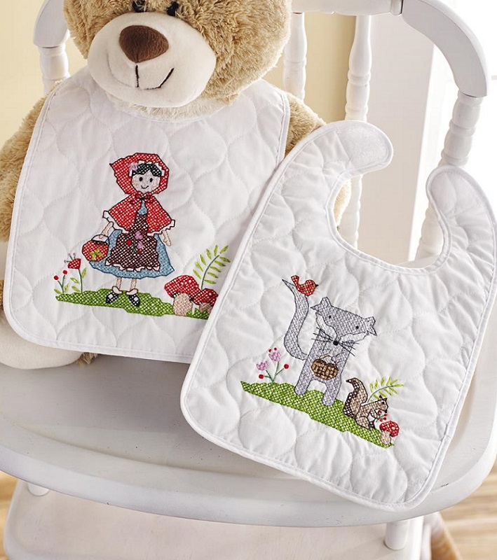 click here to view larger image of Little Red Riding Hood Bibs - Set of 2 (stamped bib)