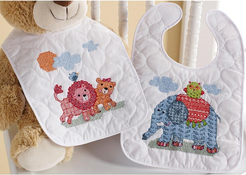 click here to view larger image of Two by Two Bibs - Set of 2 (stamped bib)