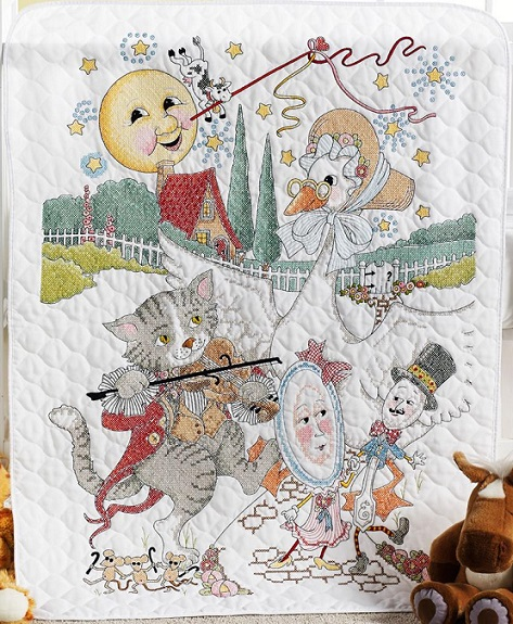 click here to view larger image of Classic Mother Goose Crib Cover (stamped crib cover)