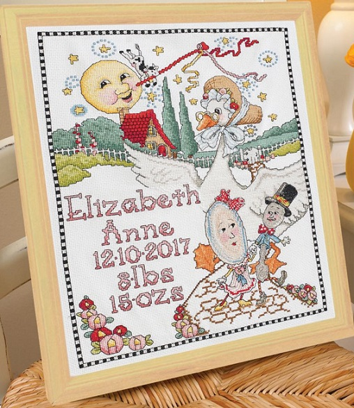 click here to view larger image of Classic Mother Goose Birth Record (counted cross stitch kit)