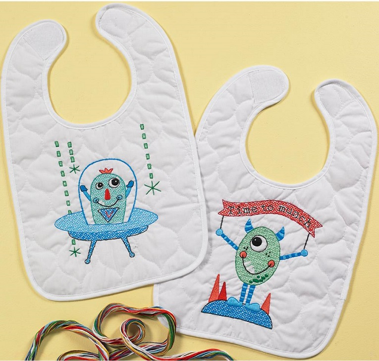 click here to view larger image of Monster Bibs - Set of 2 (stamped bib)