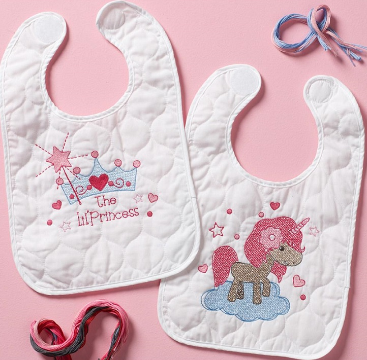 click here to view larger image of Fairytale Princess Bibs - Set of 2 (stamped bib)