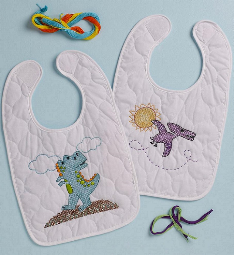 click here to view larger image of Dino Baby Bibs - Set of 2 (stamped bib)