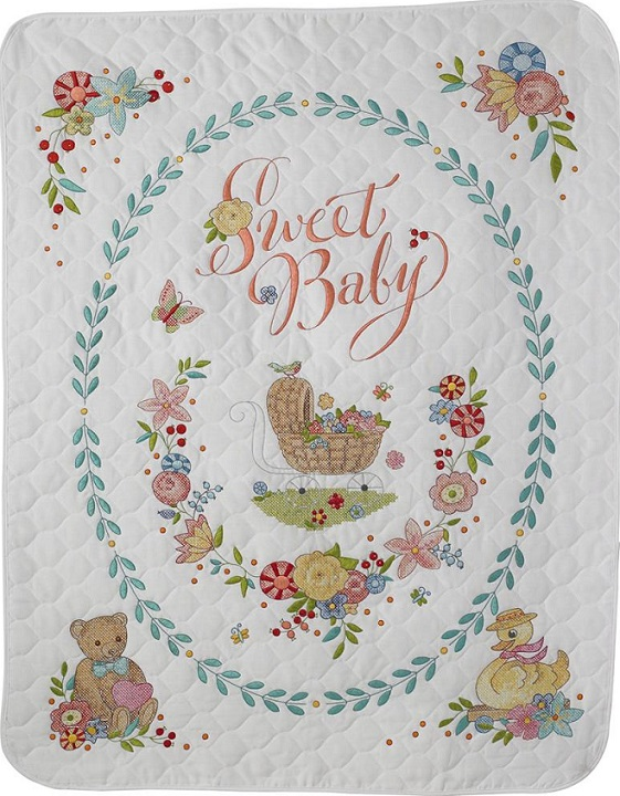 click here to view larger image of Sweet Baby Crib Cover (stamped crib cover)