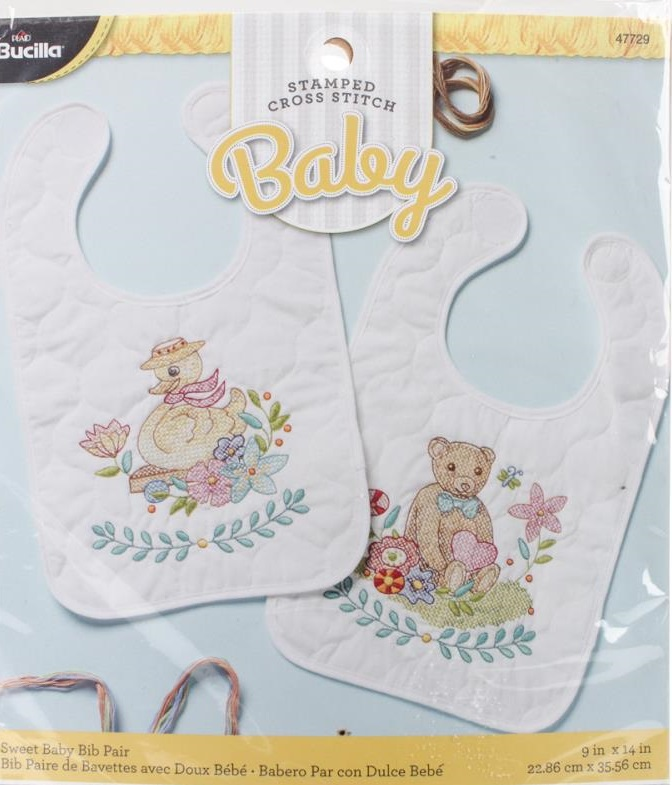 click here to view larger image of Sweet Baby Bibs - Set of 2 (stamped bib)