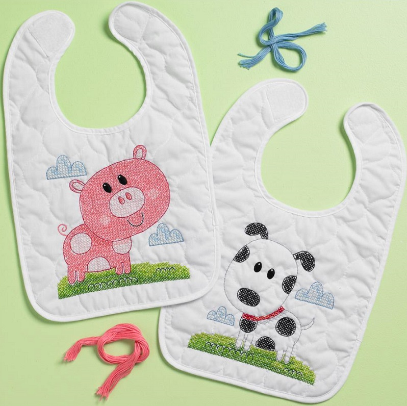 click here to view larger image of Farm Animals Bibs - Set of 2 (stamped bib)