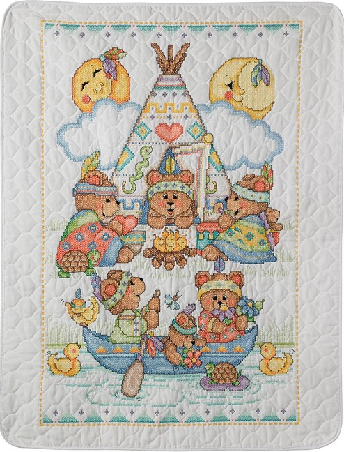 click here to view larger image of Tee Pee Bears Crib Cover (stamped crib cover)