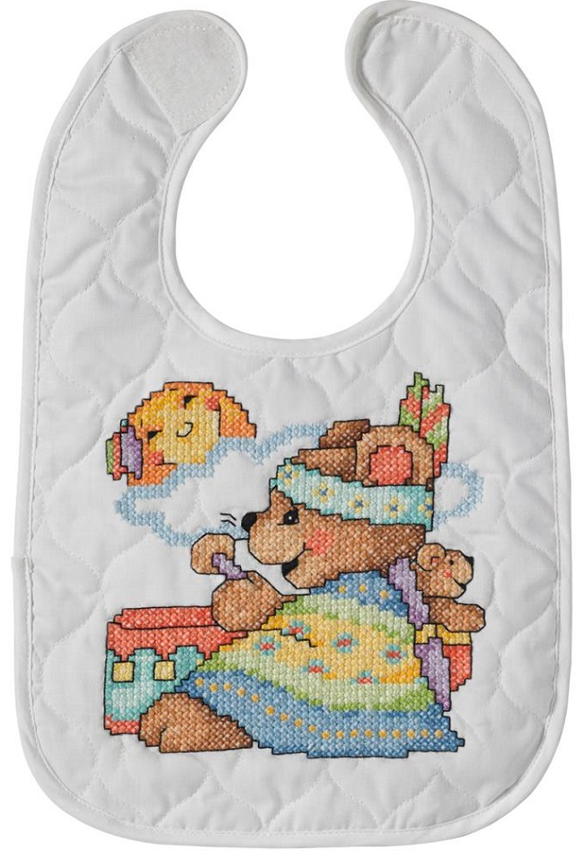 click here to view larger image of Tee Pee Bears Bibs - Set of 2 (stamped bib)