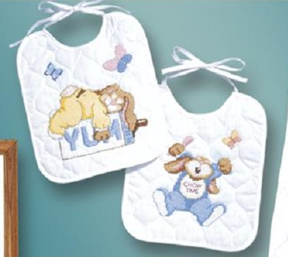 click here to view larger image of Sleepy Bunnies Bibs - Set of 2 (stamped bib)