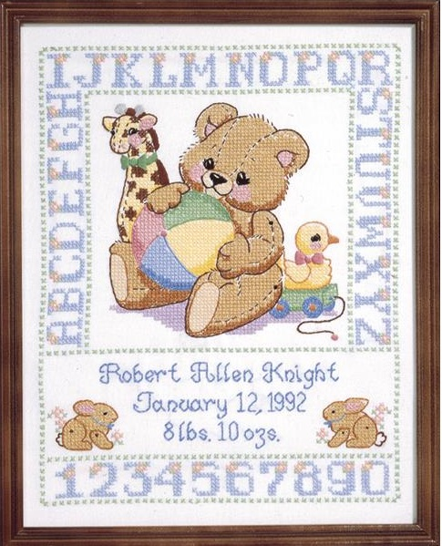 click here to view larger image of Bear Birth Sampler (stamped cross stitch)