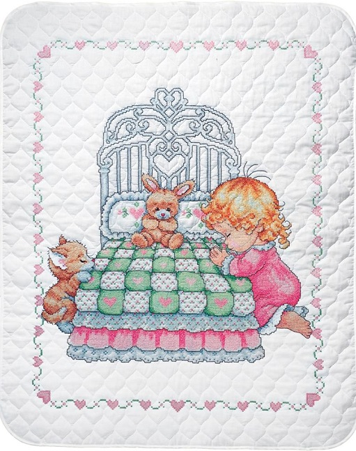 click here to view larger image of Bedtime Prayer Girl Quilt (stamped crib cover)