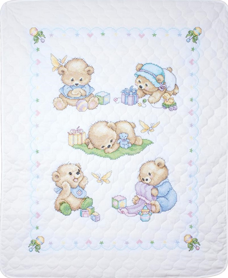 click here to view larger image of Baby Bears Quilt/Crib Cover (stamped bib)
