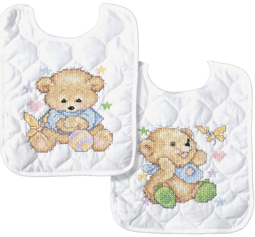 click here to view larger image of Baby Bears Bibs - Set of 2 (stamped bib)
