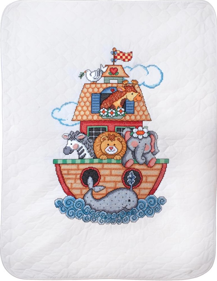click here to view larger image of Noahs Ark Quilt/Crib Cover (stamped crib cover)