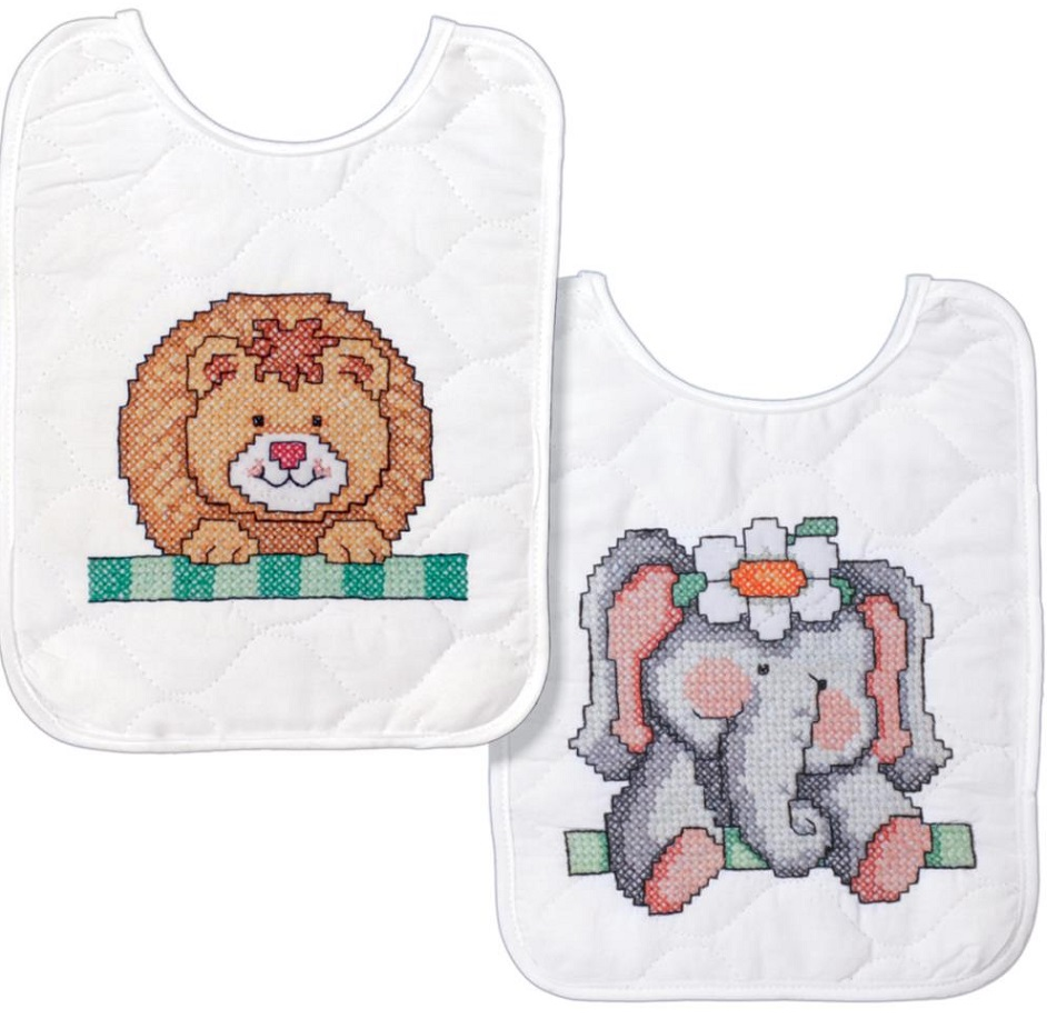 click here to view larger image of Noahs Ark Bibs - Set of 2  (stamped bib)