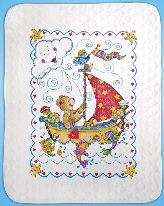 click here to view larger image of Sail Away Baby Quilt/Crib Cover (stamped crib cover)