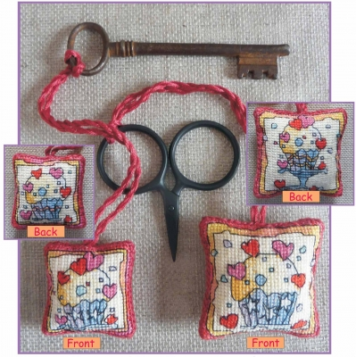 click here to view larger image of Cupcakes - Scissor/Key Keep (counted cross stitch kit)