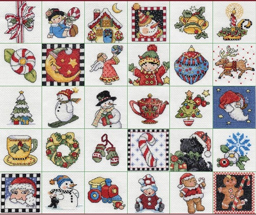 click here to view larger image of Mary Engelbreit Ornaments - Set of 30 (counted cross stitch kit)