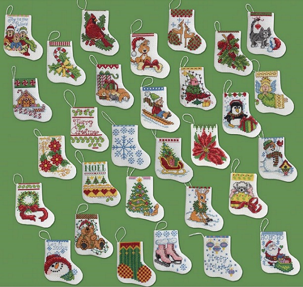 click here to view larger image of More Tiny Stockings Ornaments - Set of 30 (counted cross stitch kit)