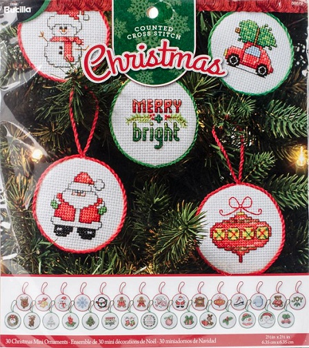 click here to view larger image of Christmas Minis Ornaments - Set of 30  (counted cross stitch kit)